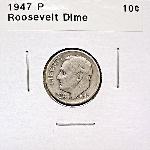 1947 P Roosevelt Dime - 4 Photos!