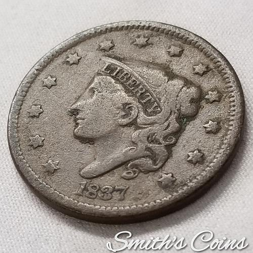 1837 Coronet Liberty Head Large Cent ~ VG