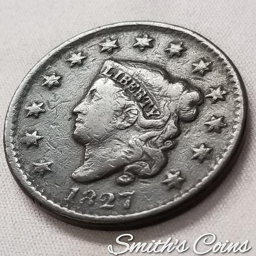 1827 Coronet Liberty Head Large Cent ~ VG 10