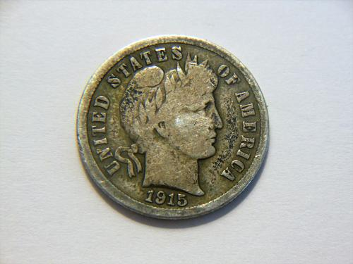 1915-S *Toned* Silver Barber Dime
