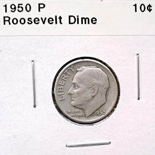 1950 P Roosevelt Dime - 4 Photos!