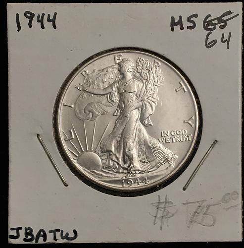Silver Walking Liberty Half 1944 P...MS64