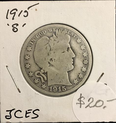 Silver Barber Half 1915-S Grade Good .. They were made from 1892 to 1915
