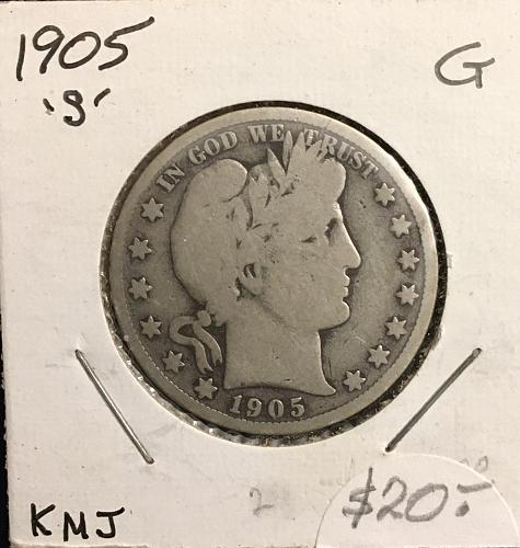 Silver Barber Half 1905-S Grade Good .. They were made from 1892 to 1915