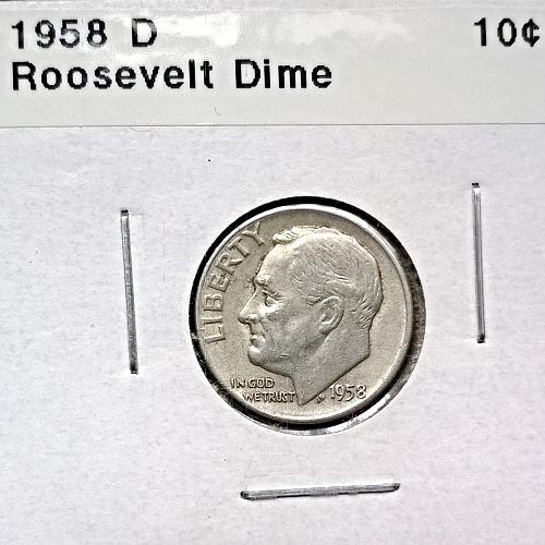 1958 D Roosevelt Dime - 4 Photos!
