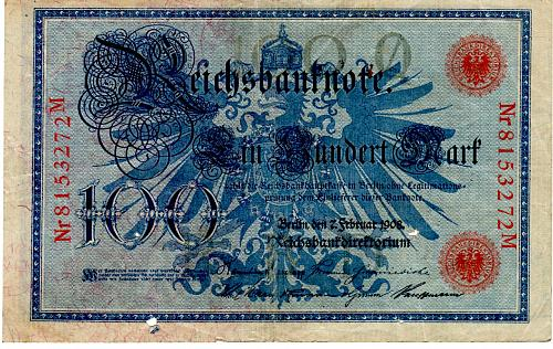 1908 GERMANY 100 MARK REICHS BANKNOTE