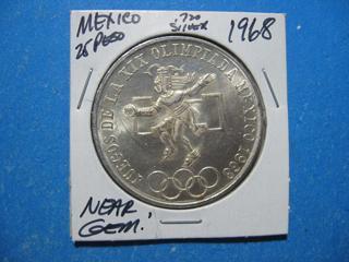 1968 25 PESO OLYMPIC .720 SILVER SUPER NICE NEAR GEM UNCIRCULATED