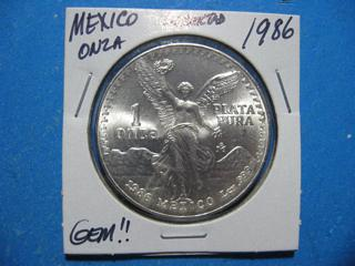 1986 ONZA LIBERTAD ONE PURE OUNCE .999 SILVER SUPER NICE NEAR GEM UNCIRCULATED