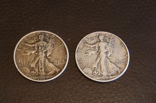 Walking Liberty Halves- 1945 P and 1945 D