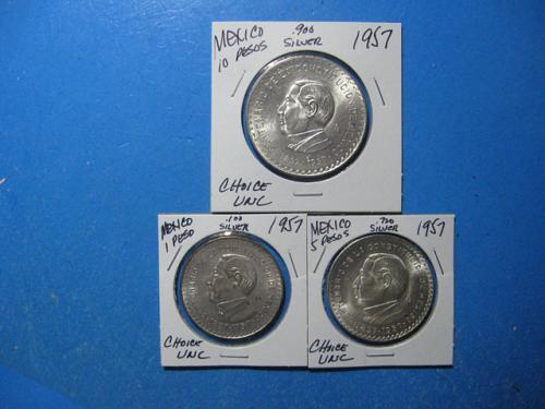 1957 MEXICO 1, 5 & 10 PESO .100., .720 & .900 SILVER CONSTITUTION SET OF THREE