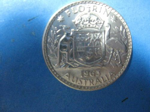 1963  AUSTRALIA 1 FLORIN .500 SILVER FROSTY LUSTER .1818 ASW