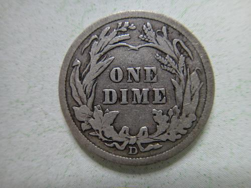 1912-D Barber Dime Fine-12- Rotated Reverse 15 Degrees Left!