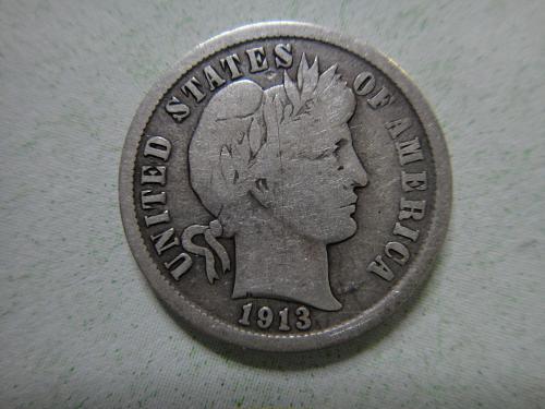 1913 Barber Dime Very Good-8