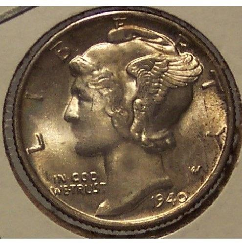 1940 Mercury Head Dime BU #01119