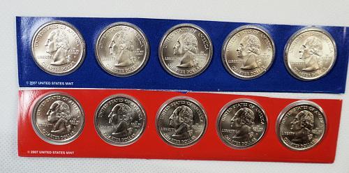 """2007 P D Washington State Quarters - 1 each """"P"""" Mint - 1 each """"D"""" Mint"""