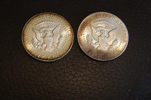 Two JFK Halves with beautiful toning