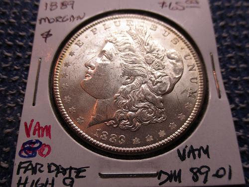 1889 MS62 Morgan Dollar.  VAM.  Item: VAM DM 89-01.