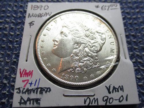 1890 AU58 Morgan Dollar.  VAM.  Item: VAM DM 90-01.