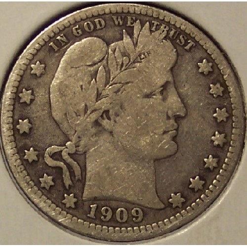 1909 Barber Silver Quarter F12 #01156