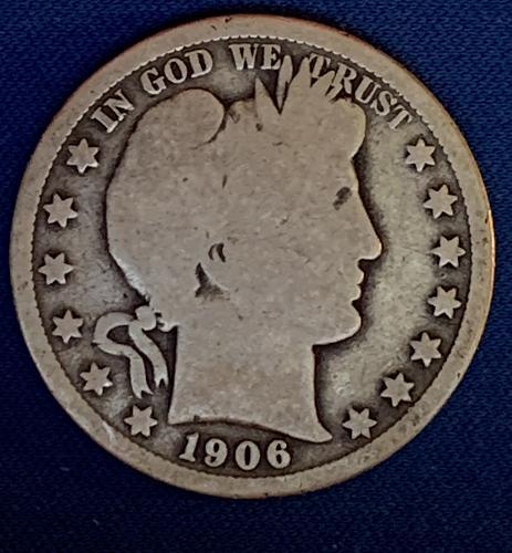 1906 O Barber Half Dollar circulated but nice fill in coin