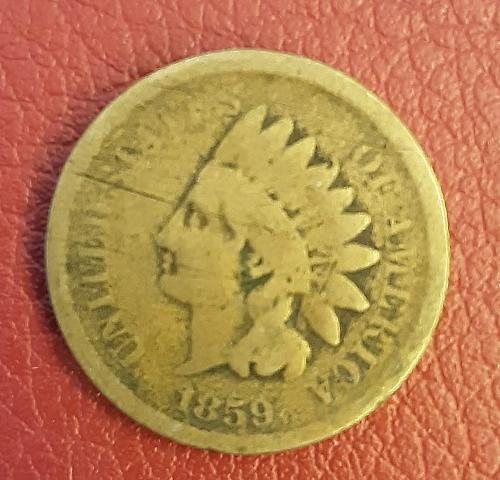 1859 P Indian Head small cent: Laurel Wreath reverse without shield