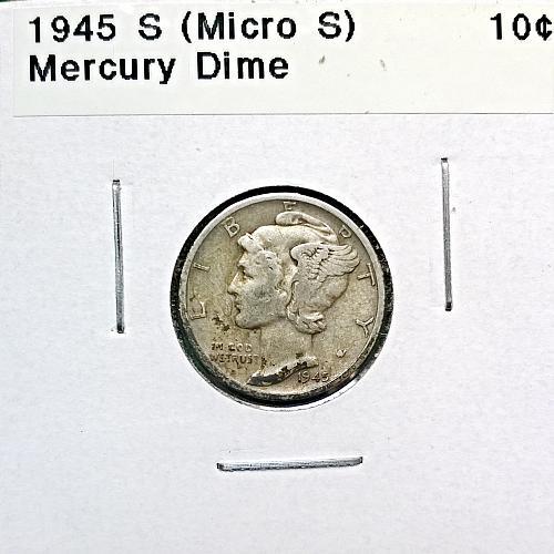 1945 S Mercury Dime (Micro S) - 6 Photos!