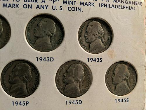 United States Emergency Coinage Set No.1 Jefferson Nickels 35% Silver Coin Set.