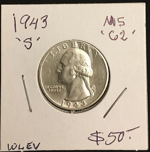 1943-S Washington Quarter Silver  MS62