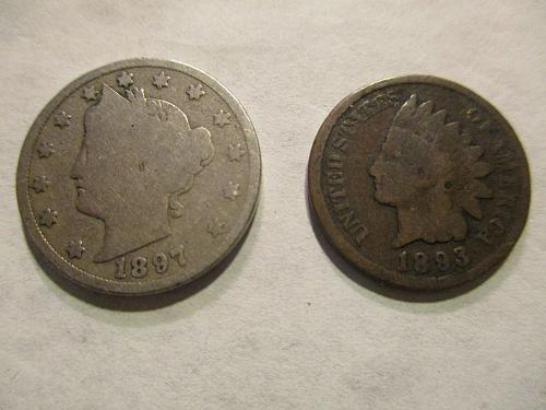 1 Indian Head Cent 1893 , 1 V Nickel 1897                 (2 coin Lot)