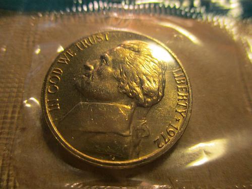 1972 Jefferson Nickel                            Still in Cellophane