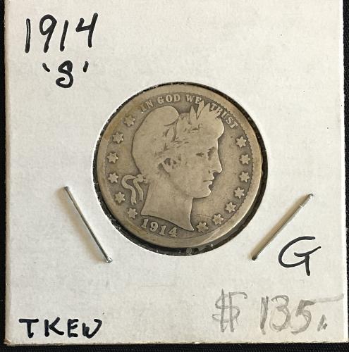 1914-S Silver Barber Quarter  G