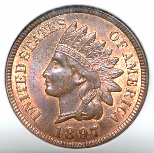 1897 Indian Head Cent Bronze Composite RB Penny MS-64 S-1