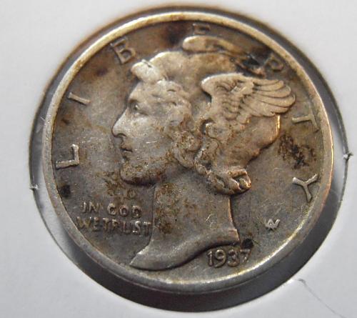 1937 S Mercury Silver Dime (37SAC5)