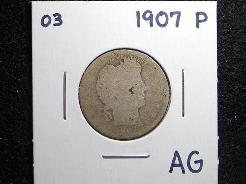 1907 P Barber Quarter