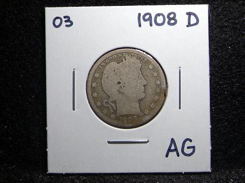 1908 D Barber Quarter