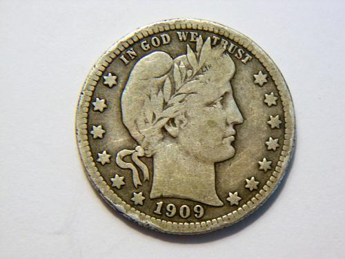 1909-P *Toned* Silver Barber Quarter