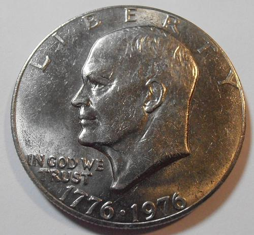 1976 P Eisenhower Dollar, TYPE 1, Bold Letters, Low Relief (76PT1C)