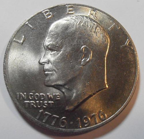 1976 P Eisenhower Dollar, TYPE 2, Fine Letters, High Relief (76PT2B)