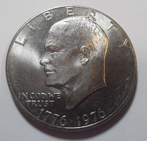 1976 P Eisenhower Dollar, TYPE 2, Fine Letters, High Relief