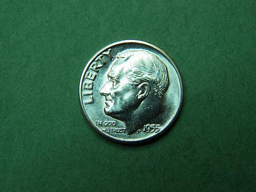 1955 D Roosevelt Dime Brilliant Uncirculated Coin u95