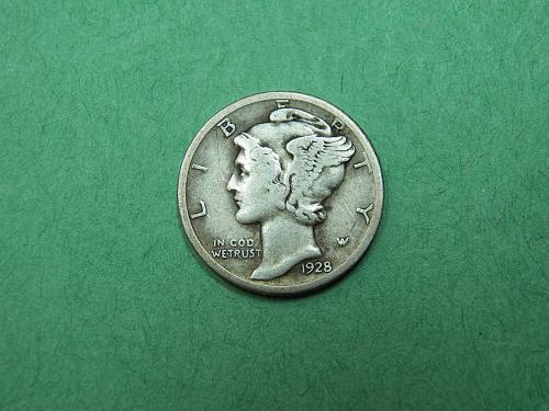 1928 D Mercury Dime F/VF Coin   w65