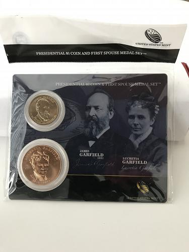 2011 Presidential $1 and First Spouse Medal Set-James and Lucretia Garfield