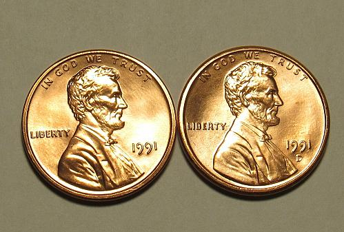 1991 P&D Lincoln Memorial Cents in Red BU condition