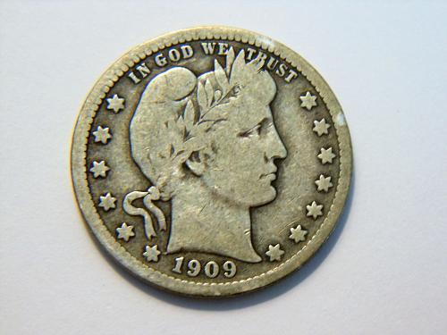 1909-P Silver Barber Quarter