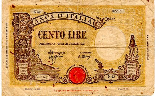 "1943 ITALY 100 LIRE BANKNOTE  ""WORLD WAR 11"""
