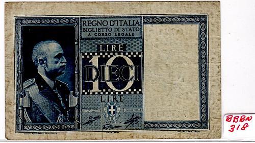 "1939 XV111  ITALY  10 LIRE  ""WORLD WAR 11""  BANKNOTE"