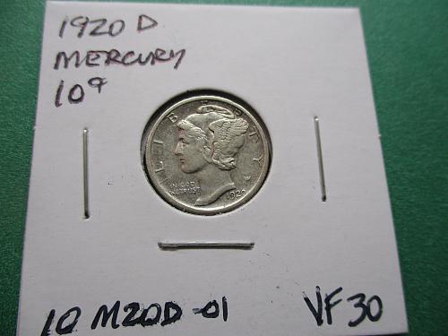 1920-D  VF30 Mercury Dime.  Item: 10 M21D-01.