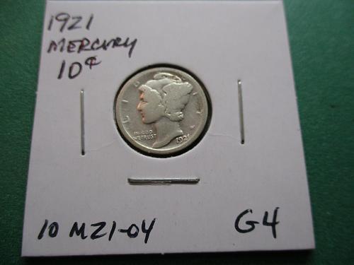 1921  G4 Mercury Dime.  Item: 10 M21-04.