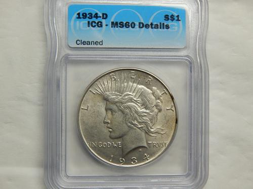 1934-D Peace Dollar Certified MS-60