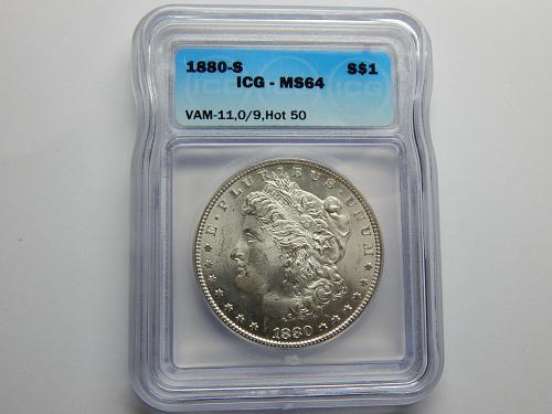 1880 S Overdate 0/9 VAM 11, Hot 50
